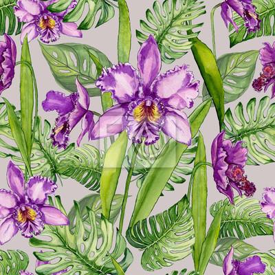 Piękni purpurowi orchidea kwiaty i monstera opuszczają na jasnopopielatym tle. Tropikalny wzór kwiatowy. Malarstwo akwarelowe. Ręcznie rysowane ilustracji.