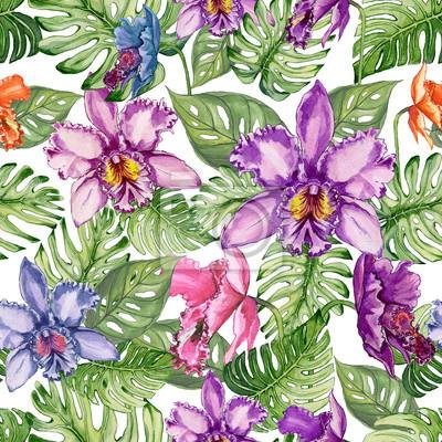 Piękni storczykowi kwiaty i monstera opuszczają na białym tle. Tropikalny wzór kwiatowy. Malarstwo akwarelowe. Ręcznie rysowane ilustracji.