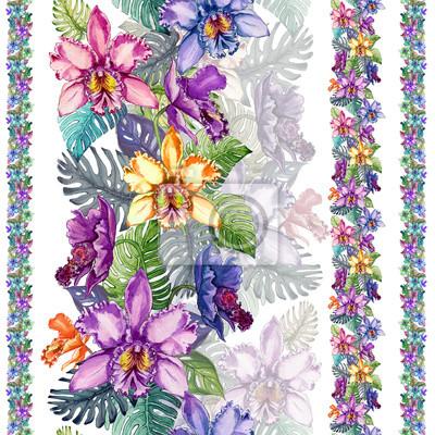 Piękni storczykowi kwiaty i monstera opuszczają w linii prostych na białym tle. Tropikalny wzór kwiatowy. Malarstwo akwarelowe. Ręcznie rysowane ilustracji.