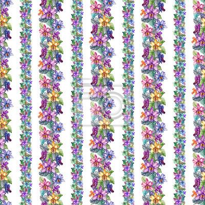 Piękni storczykowi kwiaty i monstera opuszczają w wąskich liniach prostych na białym tle. Tropikalny wzór kwiatowy. Malarstwo akwarelowe. Ręcznie rysowane ilustracji.