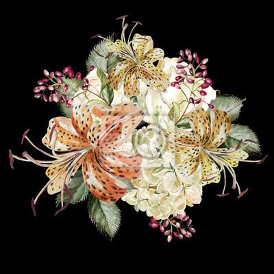 Piękny bukiet akwarela z hudrangea i lilii.