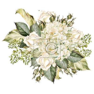 Naklejka Piękny bukiet akwarela z hudrangea i róż.