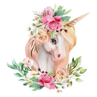 Naklejka Piękny, ładny, akwarela jednorożca głowy z kwiatami, kwiatowy korony, bukiet na białym tle