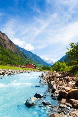 Naklejka Piękny szwajcarski krajobraz z strumienia rzeki