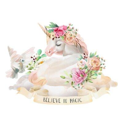 Naklejka Piękny, uroczy, akwarela marzy jednorożca na chmurze z kwiatami, bukiet kwiatowy, gołębi i wstążki z cytatem na białym tle