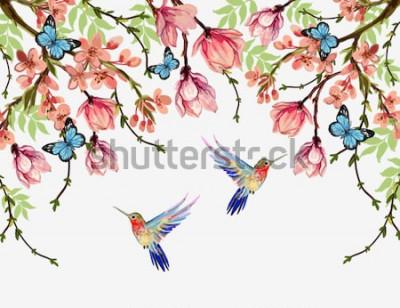 Naklejka Piękny wektor kwiatowy lato wzór tła z tropikalnych japońskich kwiatów, glicynii, magnolii, motyli, magnolii. Idealny do tapet, tła strony internetowej, tekstur powierzchni, tekstyliów.