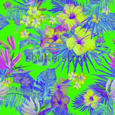 Naklejka Piękny wzór zwrotnika z malowaniem kwiatów hibiskusa i rajskiego ptaka. Śliczna malowana tropikalna ilustracja z plumeria, liściem palmowym i liśćmi bananowymi. Zielony neon kolor tropikalny tło.