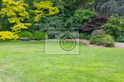 Naklejka Piękny zielony ogród z drewnianą ławką