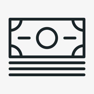 Pieniądze gotówka minimalistyczny płaski kreska ikona piktogram