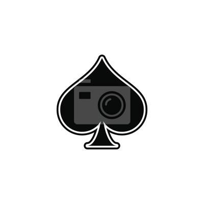 Naklejka pik, as karty do gry