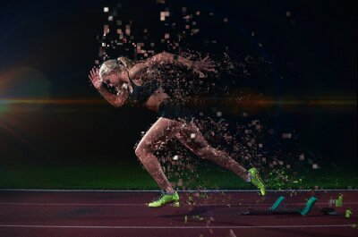 Naklejka piksele konstrukcja kobieta sprinter pozostawiając blokach startowych