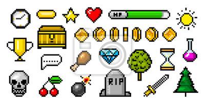 Naklejka Pikselowe obiekty 8-bitowe. Zasoby gier retro. Zestaw ikon. Komputerowe arkady wideo w stylu vintage. Monety i trofeum zwycięzcy. Ilustracji wektorowych.