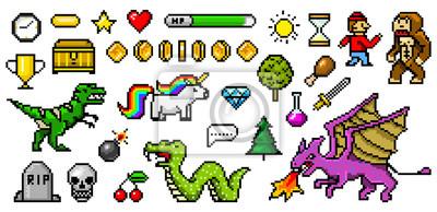 Naklejka Pikselowe obiekty 8-bitowe. Zasoby gier retro. Zestaw ikon. Komputerowe arkady wideo w stylu vintage. Znaki dinozaura kucyk tęcza jednorożec wąż smok małpa i monety, trofeum zwycięzcy. Ilustracji wekt