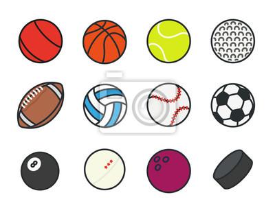 Piłek Sportowych Minimalny Kolor Płaskich Linii Wektor Ikonę Zestawu. Piłka nożna, piłka nożna, tenis, golf, kręgielnia, koszykówka, hokej, siatkówka, rugby, basen, baseball, ping pong