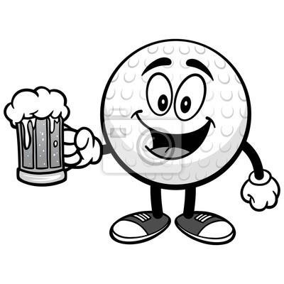 Piłka golfowa z Piwną ilustracją