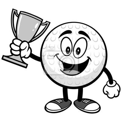 Piłka golfowa z trofeum ilustracją