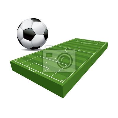 Piłka nożna 3D Piłka nożna Pole i Ball Illustration