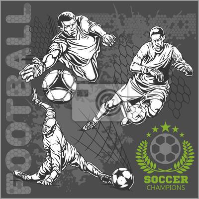 Piłka nożna i piłka nożna graczy plus emblematy dla drużyny sportowej