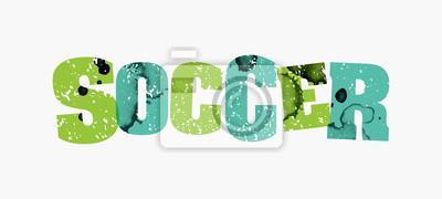 Piłka nożna koncepcja kolorowy ilustracja pieczęć słowo