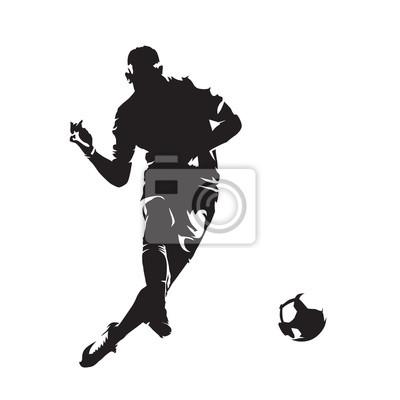 Piłka nożna kopiąc piłkę, abstrakcyjna wektora sylweta