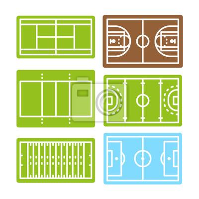 Piłka nożna Koszykówka Piłka nożna Hokej Siatkówka Tenis Siatkówka Arena Sport Vector Color Line Stroke Icon Set