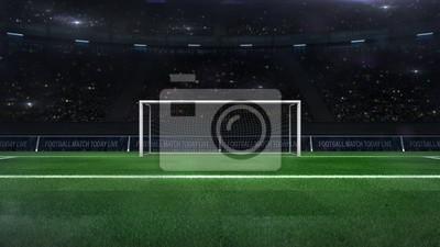 piłka nożna lub piłka nożna bramka bramkowa zbliżenie z zieloną trawą i kibicami z tyłu, stadion piłkarski sport motyw cyfrowy 3D ilustracyjny projekt własny