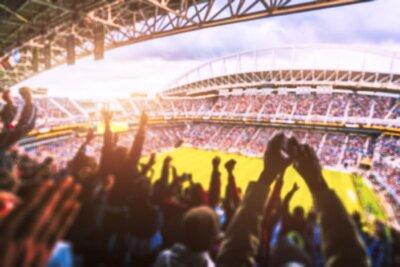 Naklejka Piłka nożna - piłka nożna, wielu fanów na stadionie świętować cele. zamazany.