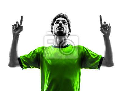 piłka nożna piłkarz młody człowiek sylwetka szczęście radość