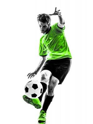 piłka nożna piłkarz sylwetka młody człowiek kopanie