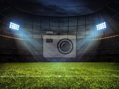 Naklejka Piłka nożna stadion piłkarski z reflektorów