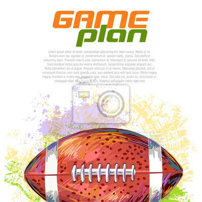 Piłka nożna Stworzony przez zawodowego artysty. Ta ilustracja jest tworzony przez tabletu Wacom za pomocą grunge tekstury i szczotki malarskiej w stylu.