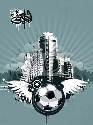 Piłka nożna w tle grunge miejskich