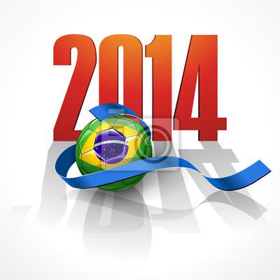 Piłka nożna z Brazylii flaga. Brazylia 2014