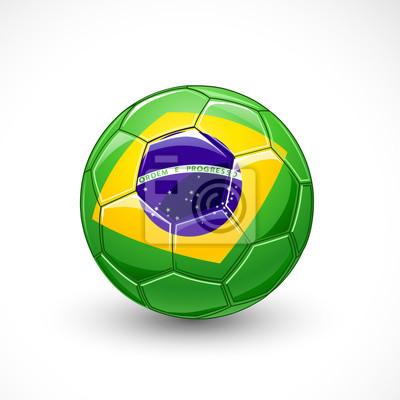 Piłka nożna z Brazylii flaga. Wektor