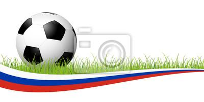 piłka nożna z rosyjskim sztandarem