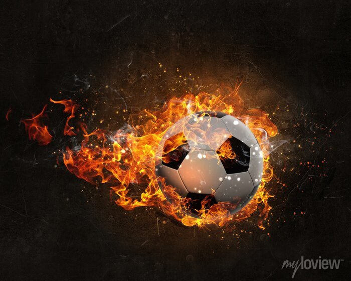 Naklejka Piłka płonie w ogniu