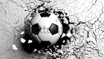 Naklejka Piłka przebija z wielką siłą przez białą ścianę. 3d ilustracji.