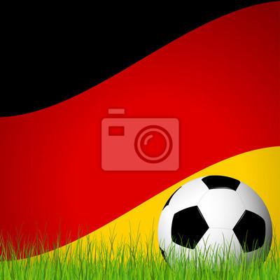 piłka przed niemiecką flagą