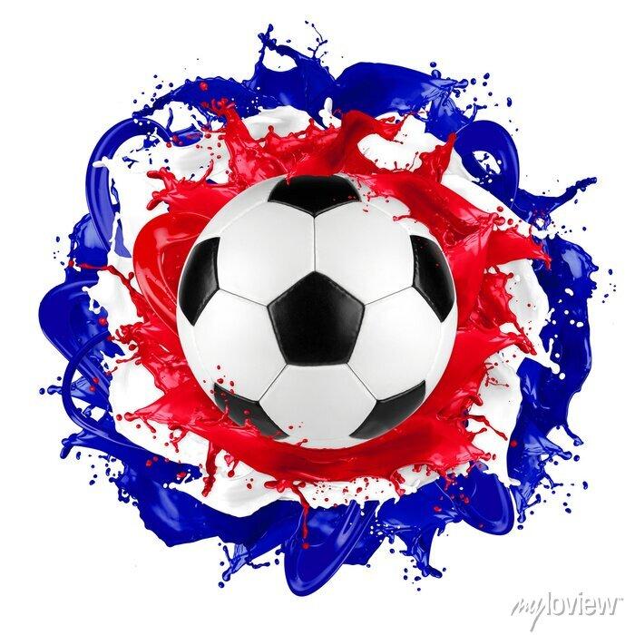 Naklejka Piłka retro kolorowy french flag powitalny