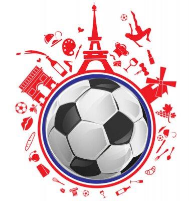 Naklejka piłka z Francją symbolem