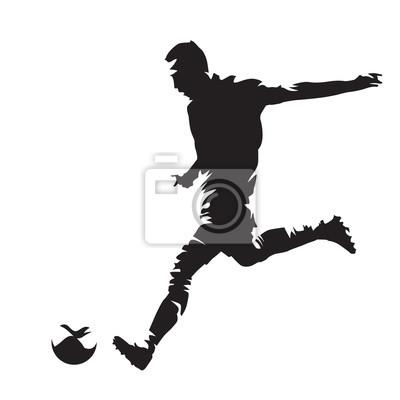 Piłkarz kicking ball, abstrakcyjna wektora sylweta