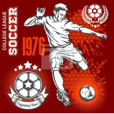 piłkarz kopanie piłki nożnej i emblematy.