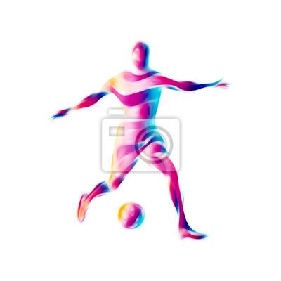 Piłkarz kopie piłkę. Kolorowe abstrakcyjne ilustracji na białym tle.