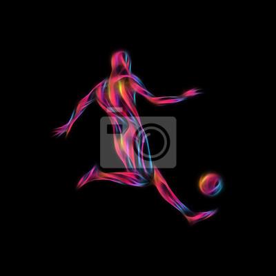 Piłkarz kopie piłkę. Kolorowe abstrakcyjne ilustracji na czarnym tle.