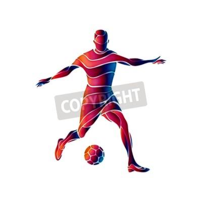 Piłkarz kopie piłkę. Kolorowy fale streszczenie ilustracji na białym tle.