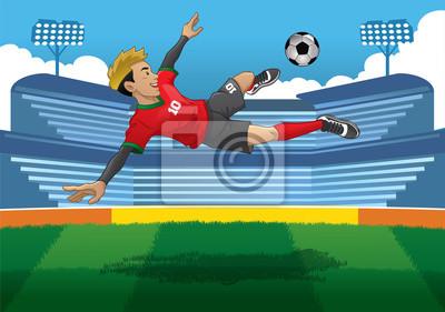 piłkarz robi skok volley kick