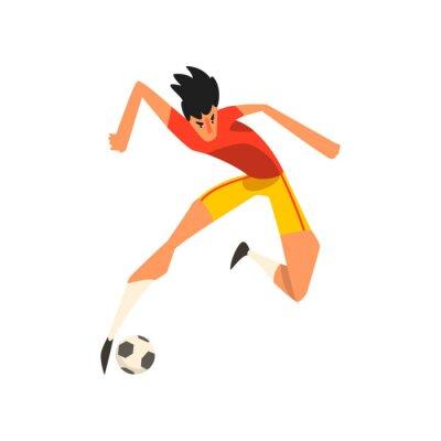 Piłkarz skoków dotknąć piłki w powietrzu wektor ilustracja na białym tle