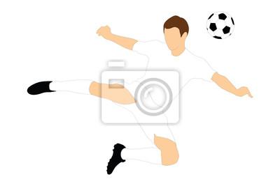 Piłkarz strzelając piłkę z głową