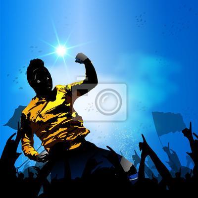piłkarz świętuje z tłumu