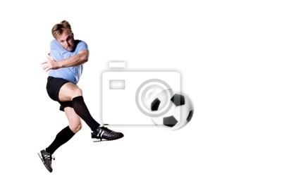 Piłkarz w akcji. Pełna isolatedstudio obraz